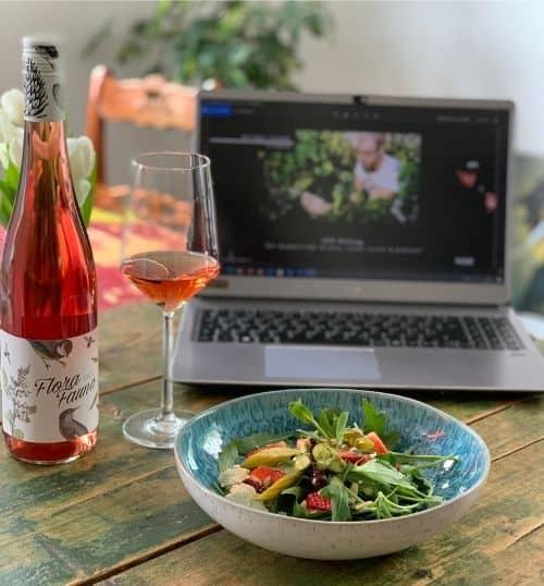 Wein zum Essen Spargelsalat und Rosé Online